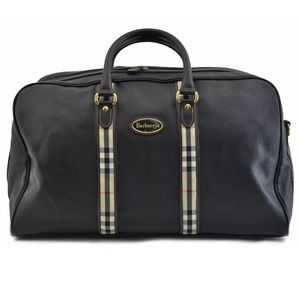 Authentic BURBERRY unisex travel bag black leather